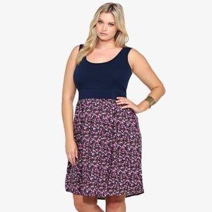 Torrid Knit Floral Blue Dress 3